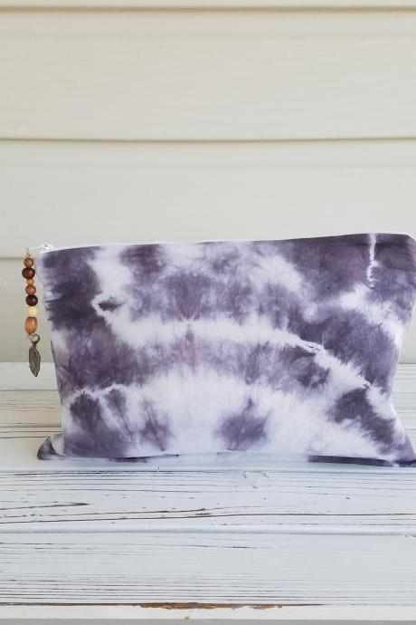 Clutch/Makeup Bag, Black Tie Dye Boho Style Purse, Makeup Bag, Clutch.