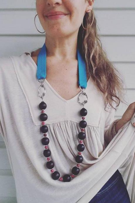 Dark Brown Chunky Wood Beads, Ruby Pink Agate Beads and Turquoise Cord Long Necklace.